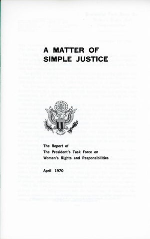 A Matter of Simple Justice - Report of the President's Task Force on Women's Rights, Page 2