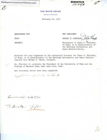 Dr James Fletcher NASA Administrator Nomination, Page 1