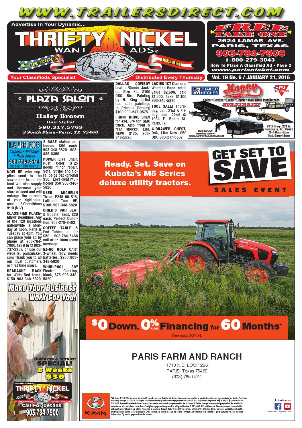 January 21 2016 digital edition by paris thrifty nickel Paris building supply paris tn