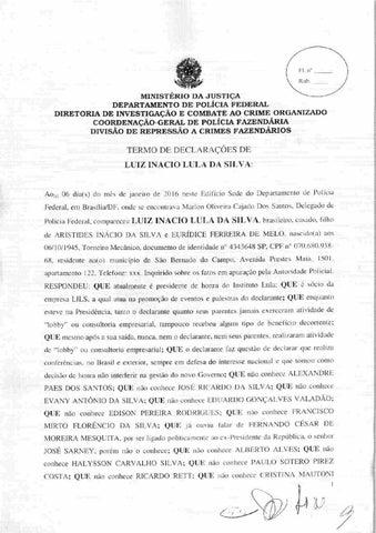Íntegra do depoimento do ex-presidente Lula à PF -- Instituto Lula