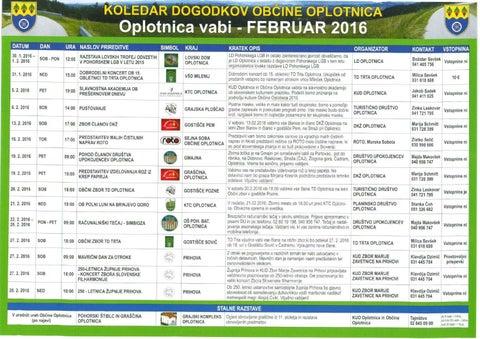 Koledar prireditev občine Oplotnica februar 2016
