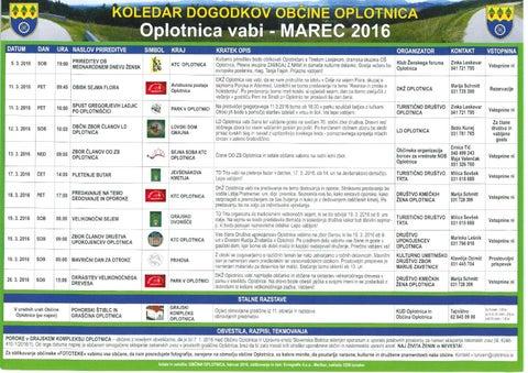 Koledar prireditev občine Oplotnica marec 2016