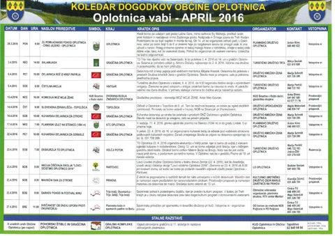 Koledar prireditev občine Oplotnica april 2016