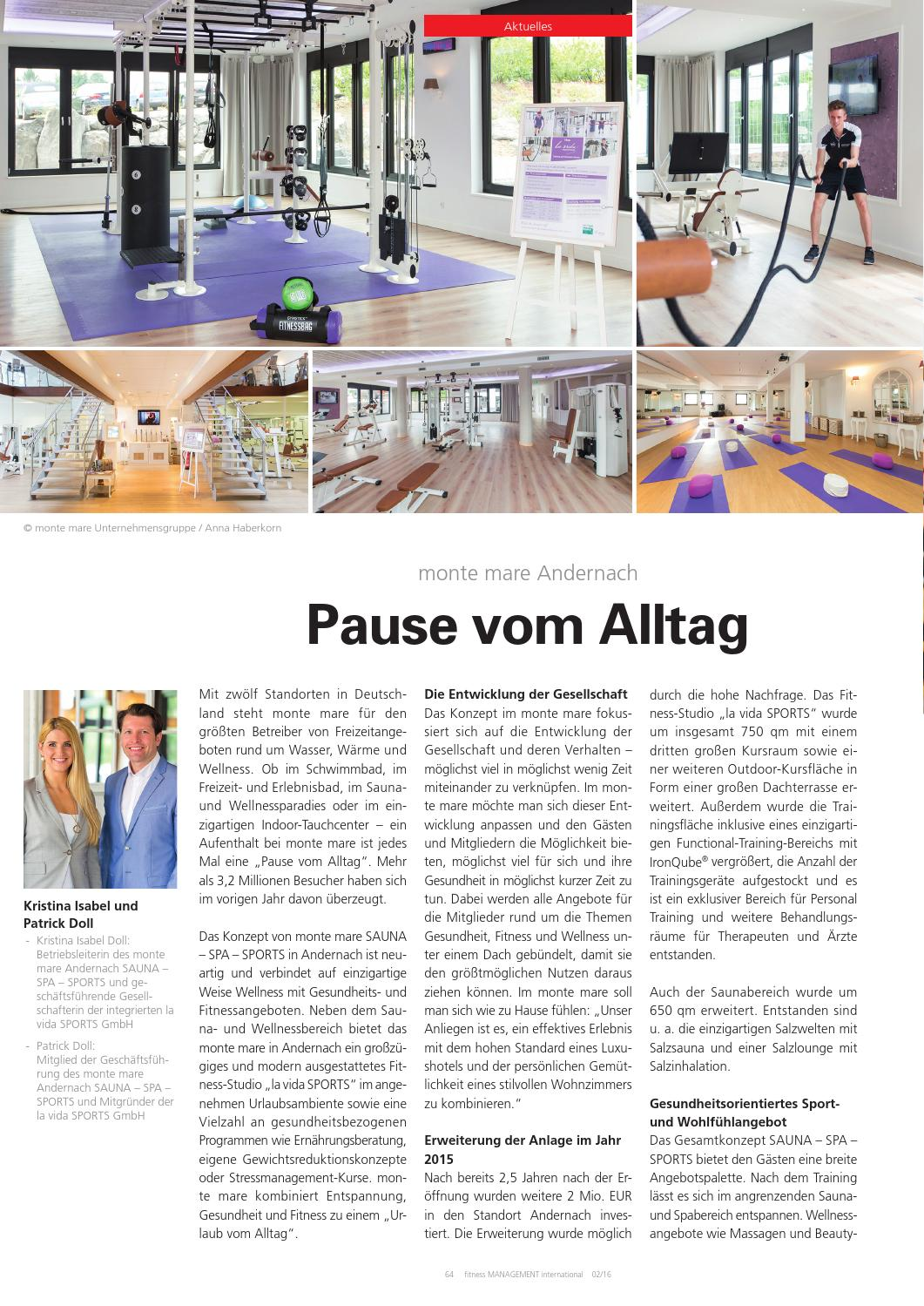 Fitness Management international: Pause vom Alltag bei monte mare - monte mare Andernach
