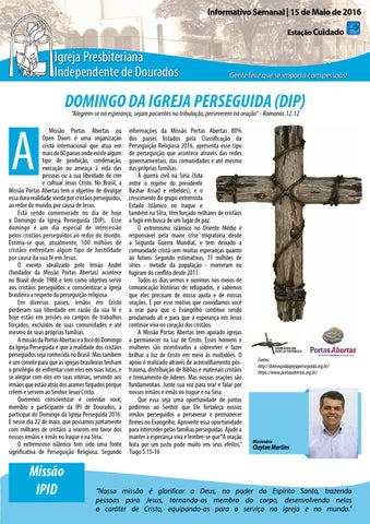 Boletim Informativo IPID   - 22 de Maio de 2016