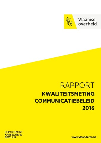 Kwaliteitsmeting communicatiebeleid 2016. Rapport