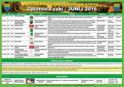 Koledar prireditev občine Oplotnica junij 2016