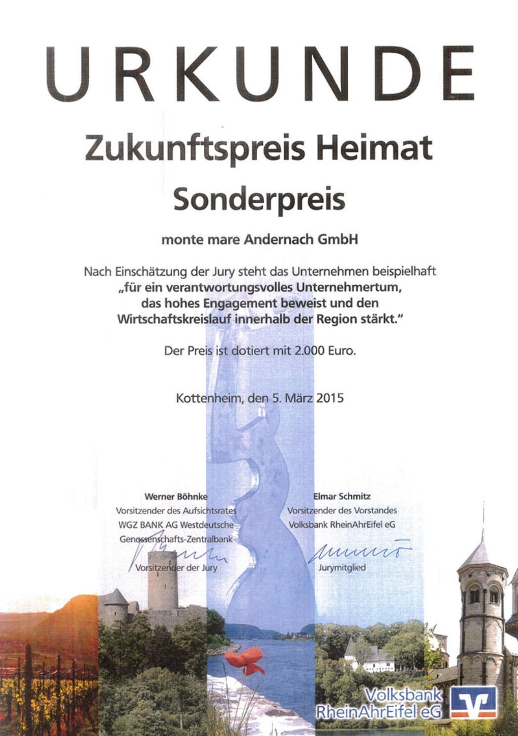 Zukunftspreis Heimat der Volksbank RheinAhr Eifel eG - monte mare Andernach