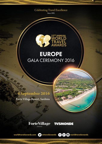 World Spa Awards Gala Ceremony 2016 programme