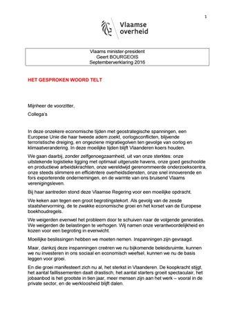 Septemberverklaring van de Vlaamse Regering 2016