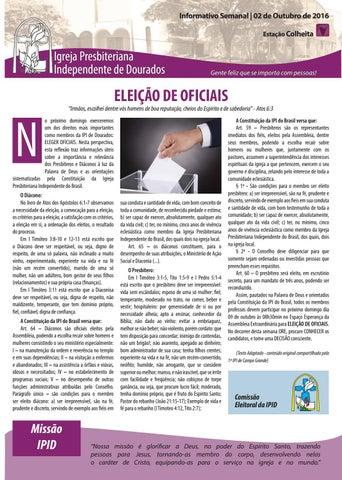 Boletim Informativo IPID     02 de Outubro de 2016