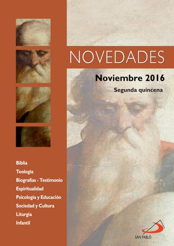 Boletín de Novedades Editorial San Pablo España - Noviembre 2016 (2ª quincena)