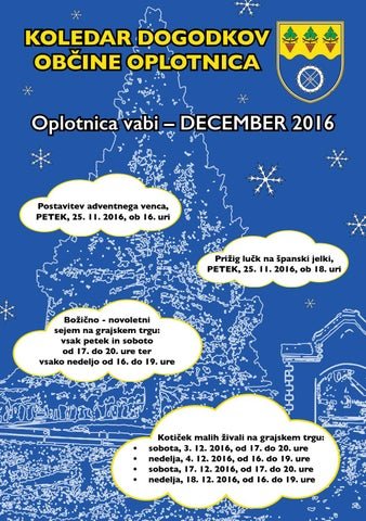 Koledar prireditev občine Oplotnica december 2016