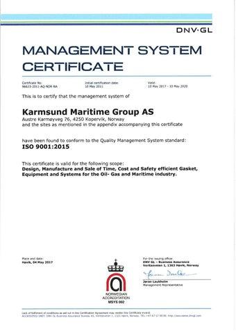 1 – Karmsund ISO 9001:2015 - Certificates – KaMOS<sup>®</sup>