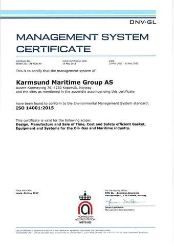 2 – Karmsund ISO 14001:2015 - Certificates – KaMOS<sup>®</sup>
