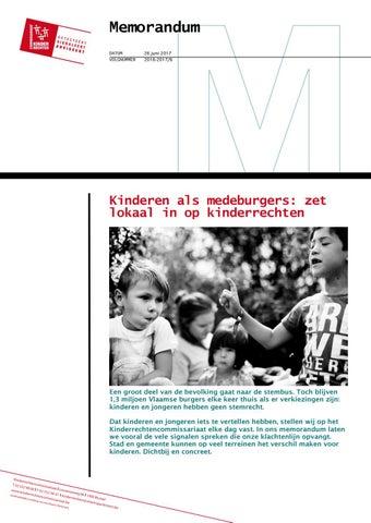 Kinderen als medeburgers: zet lokaal in op kinderrechten. Memorandum