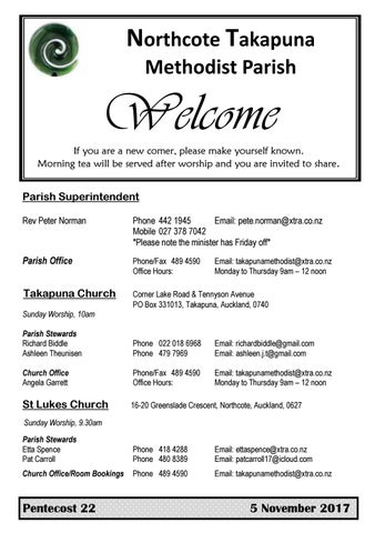 Takapuna Methodist Church Bulletin 5th November 2017 - Pentecost 22