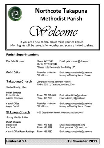 Takapuna Methodist Church Bulletin 19th November 2017 - Pentecost 24