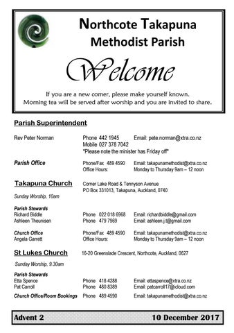 Takapuna Methodist Church Bulletin 10th December 2017 - Advent 2