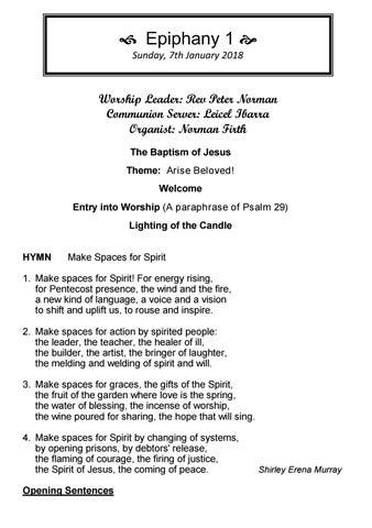 Takapuna Methodist Church Bulletin 7th January 2018 - Epiphany 1