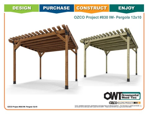 OZCO Project #830 - 12x10 Pergola (Ironwood)