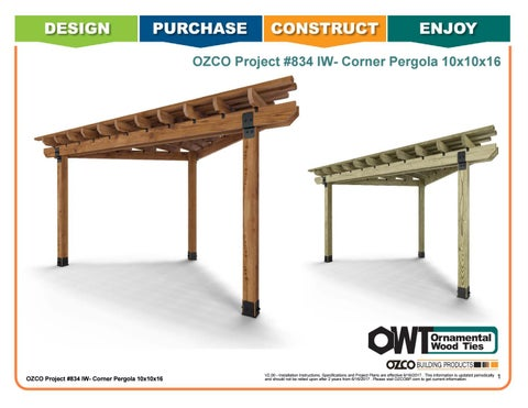 OZCO Project #834 - 10x10x16 Corner Pergola (Ironwood)