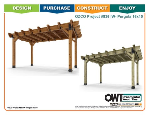 OZCO Project #836 - 16x10 Pergola (Ironwood)