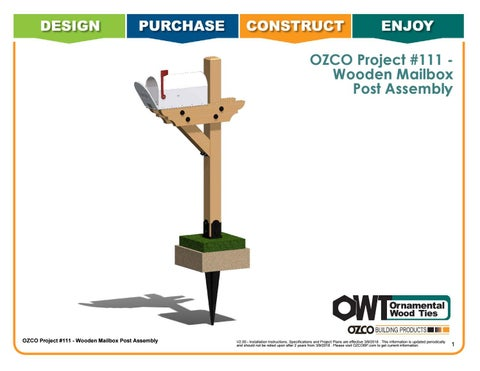 OZCO Project Wooden Mailbox Post Assembly #111
