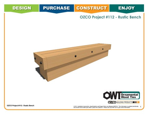 OZCO Project Rustic Bench #112
