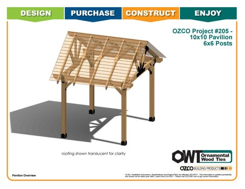OZCO Project #205 – 10x10 Pavilion With 6x6 Posts