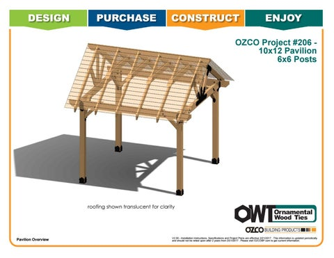 OZCO Project 10x12 Pavilion With 6x6 Posts #206