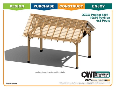 OZCO Project 10x16 Pavilion With 6x6 Posts #207
