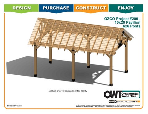 OZCO Project 10x20 Pavilion With 6x6 Posts #209