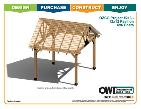 OZCO Project 12x12 Pavilion With 6x6 Posts #213