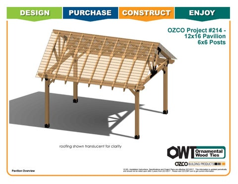 OZCO Project #214 – 12x16 Pavilion With 6x6 Posts
