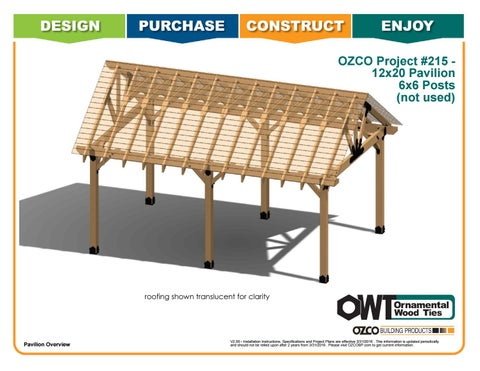 OZCO Project #215 12x20 Pavilion 6x6 Posts