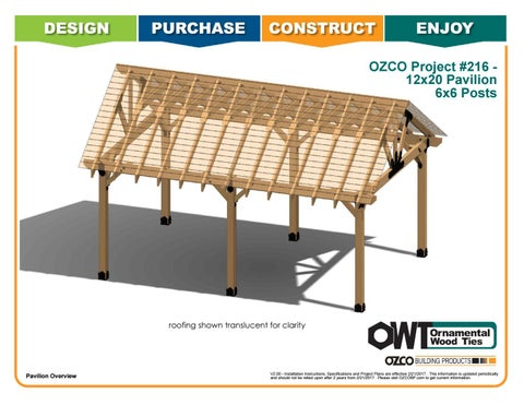 OZCO Project 12x20 Pavilion With 6x6 Posts #216