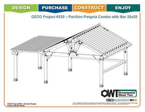 OZCO Project #220 –  20x25 Pavilion-Pergola Combo with Bar