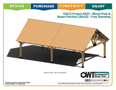 OZCO Project Wood Post & Beam Pavilion (20x32) #223