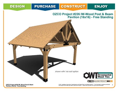 OZCO Project Wood Post & Beam Pavilion (16x16) #226