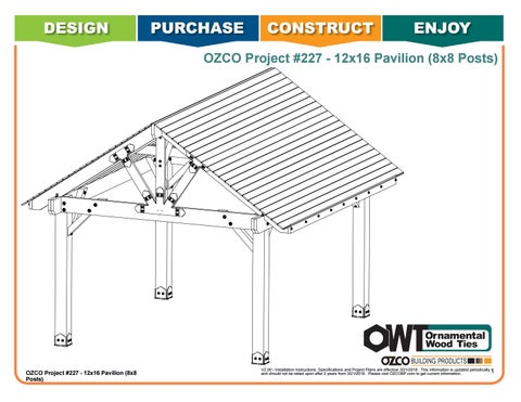 OZCO Project #227 - 12x16 Pavilion (8x8 Posts)