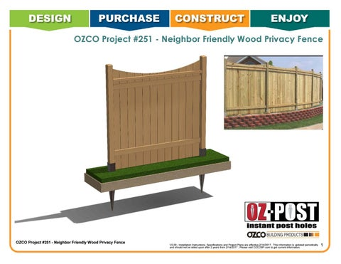 OZCO Project Neighbor Friendly Wood Privacy Fence Project #251