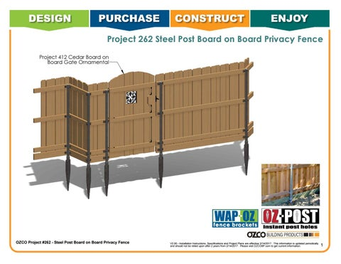OZCO Project Steel Post Board on Board Privacy Fence #262