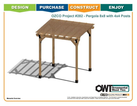"OZCO Project #282 - 8X8' Pergola with 4X4"" Posts"
