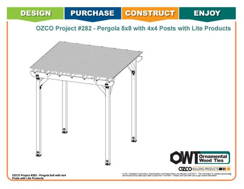 "OZCO Project #282 - 8X8' Pergola with 4X4"" OWT Lite Post Bases"