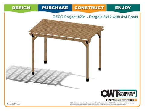 "OZCO Project #291 - 8X12' Pergola with 4X4"" POSTS"