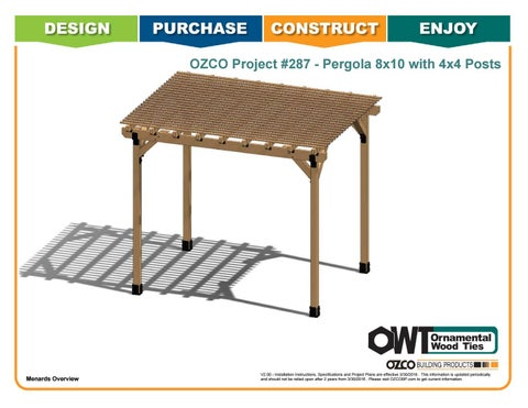 "OZCO Project #287 - 8X10' Pergola with 4X4"" Posts"