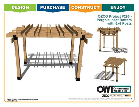 OZCO Project #296 - Pergola Inset Rafters with 6x6 Posts