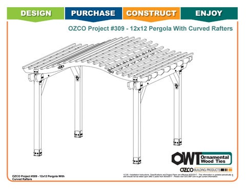 OZCO Project #309 - 12x12 Pergola With Double Seam Curved Rafters