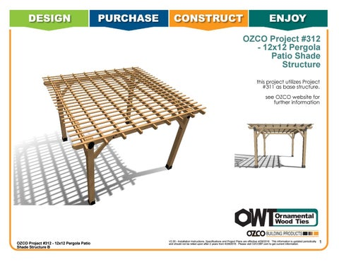 OZCO Project Arbor / Pergola Shade Patio Structure #312 B